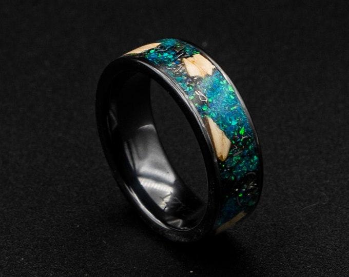 black ceramic ring, dinosaur bone fossil ring, green opal, opal engagement ring, mens wedding band, meteorite shavings, unique human ring.