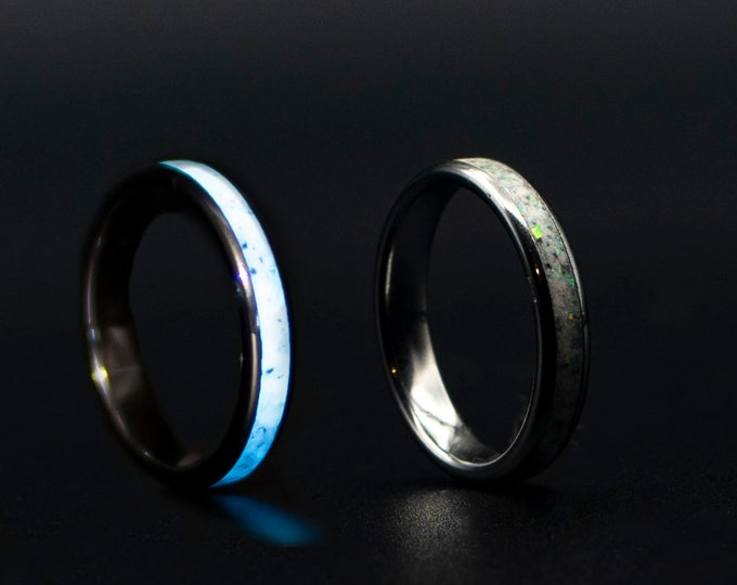 Glow in the dark white opal stackable ring. Glows white
