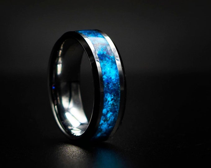 Glow in the dark Smooth Tungsten Opal Inlay Wedding Band, Unique Wedding Band, Galaxy Glowstone Ring, Unique Galaxy Ring,Custom Wedding Ring