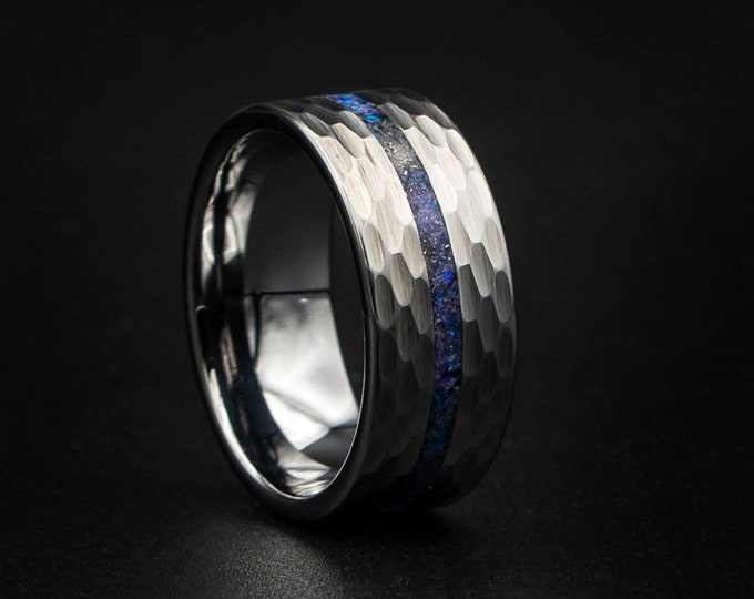 Hammered ring for mens, Purple opal ring, Mens tungsten bands, 10MM tungsten ring, Tungsten hammered, Meteorite ring, mens wedding band.