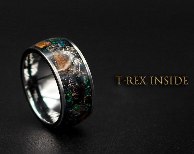 Dinosaur bone ring with Genuine tyrannosaurus and meteorite shavings.