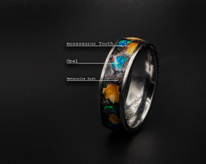 Tungsten ring with mosasaurus & meteorite opal inlay