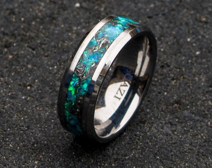 mens tungsten ring. mens opal ring. Tungsten rings. meteorite opal ring. unique opal ring. unique tungsten ring