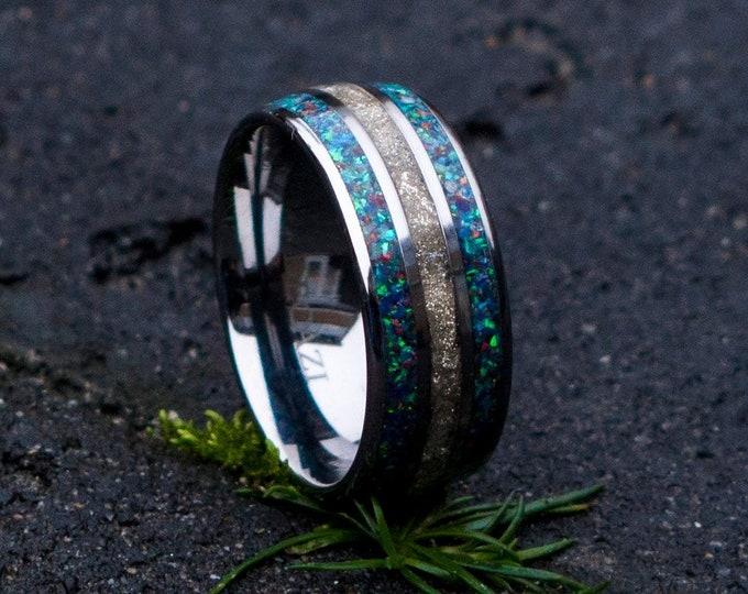 Blue Opal Wedding Band Mens, Blue Opal Tungsten Ring for Men, Tungsten Wedding Band Men Blue, Opal Wedding Ring Man Unique, Tungsten Opal