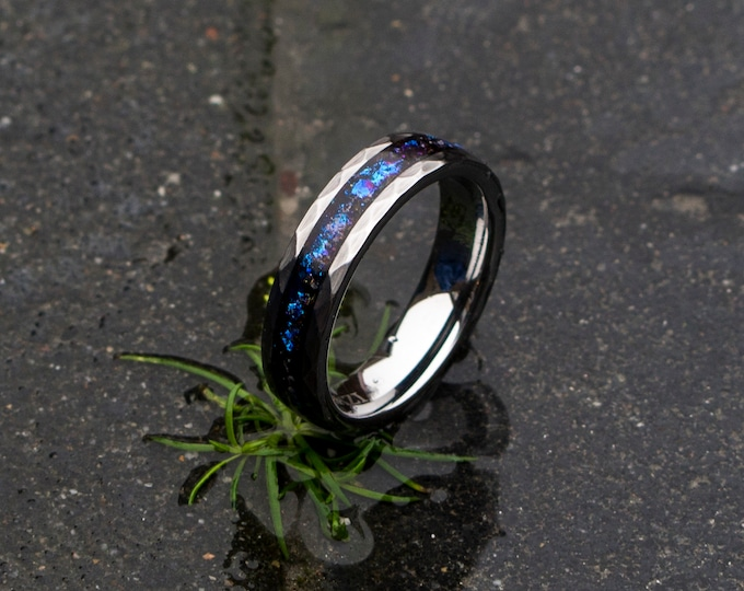 blue mens opal ring. Galaxy opal. Tungsten ring for men. meteorite opal ring. Hammered. wedding band men. ring with opal inlay