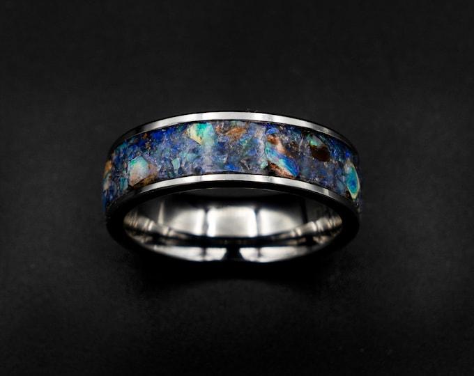 australian opal ring, rough opal ring, opal ring men, tungsten, mens tungsten ring, raw gemstone, opal engagement ring, mens wedding band.