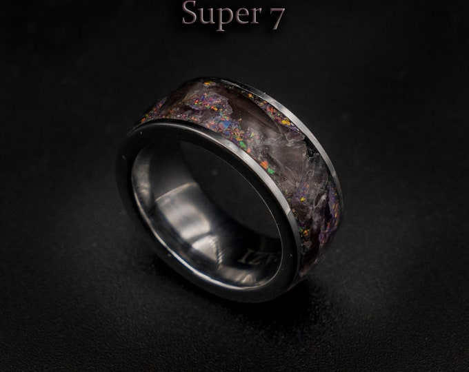 Amethyst jewelry, Super seven ring, jewelry, Healing crystal ring, Glowstone ring, Healing crystal jewelry, Christmas gift for sister