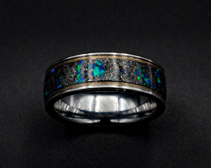 Meteorite ring, Decazi, opal ring, wedding band man, tungsten, man, gold wire ring, gold ring band, gold ring band, tungsten ring men.
