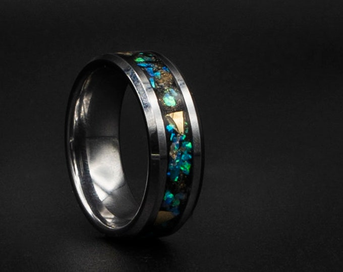 Tungsten ring beveled with black base and Real gold. galaxy opal ring.