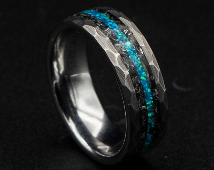 Meteorite ring with peacock green opal inlay