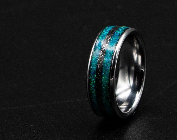 mens wedding band, meteorite ring, opal ring, mens wedding ring, wedding band mens, galaxy jewelry. meteorite ring men, green opal.