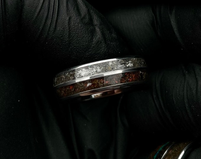 Moon meteorite, Lunar, mars, perseverance, mars meteorite, unique mens ring, tungsten ring, double inlay ring.