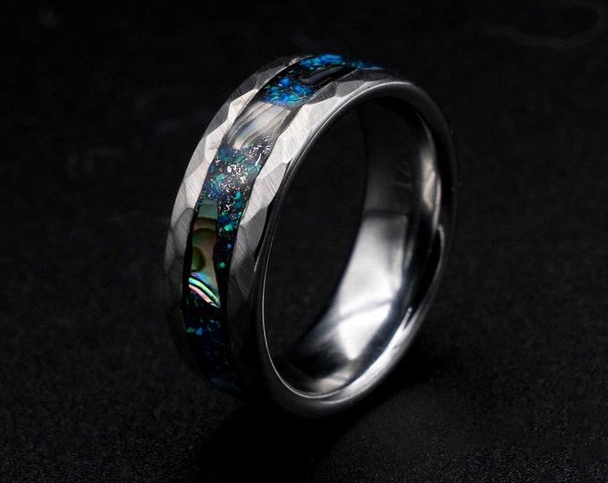 Abalone shell ring, mens wedding band, Abalone ring mens wedding band, Abalone shell jewelry, personalized ring, blue opal ring, metoerite.
