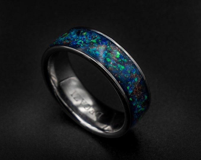 opal ring men, handmade rings, custom ring, unique rings for men, Mans wedding band, opal ring men, mens opal wedding band, tungsten.
