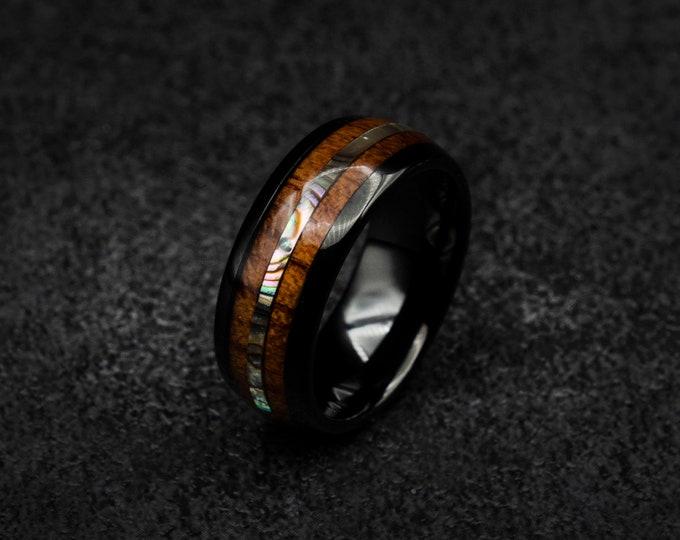 Fast shipping, Black ceramic ring, Koa wood, Abalone shell, mens wedding band, ceramic ring, male engagement ring, decazi mens, ring men.