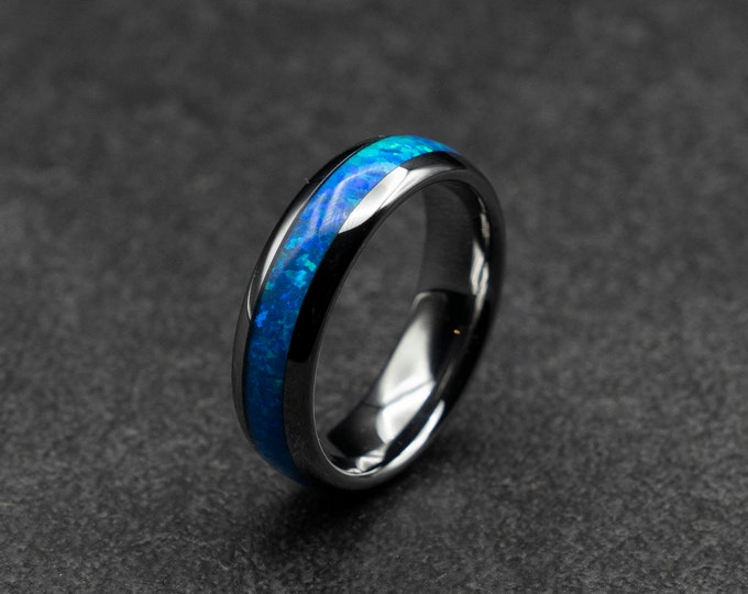 Valentine's day gift, personalized gift,  Silver Tungsten ring with blue opal. 6 mm wide band. Blue opal ring. Ready to ship