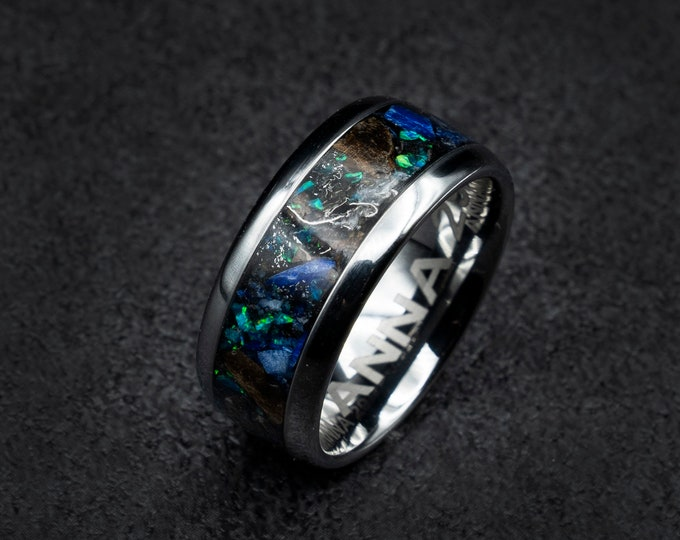 Dinosaur bone, human ring, T rex fossil, tyrannosaurus meteorite ring, lapis lazuli, meteorite ring men, human wedding band, unique human ring