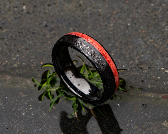 Double Inlay Black Ceramic Ring With Meteorite and Red Fire Opal, Wedding Band, Unisex Wedding Band, Custom Wedding Band