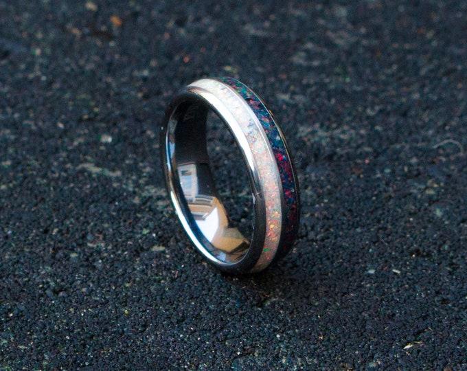 tungsten ring mens wedding band, opal ring wedding gift, tungsten ring, personalized ring Galaxy Opal rin Galaxy ring