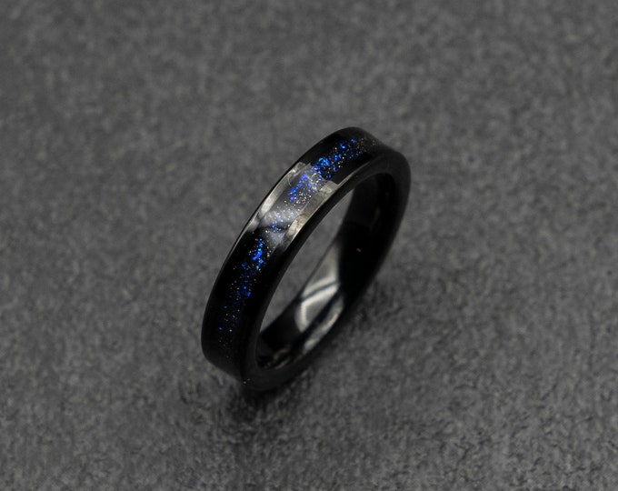 Black Tungsten ring with fine galaxy opal in 4mm wide.
