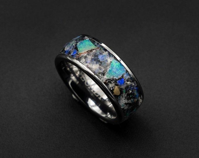 Genuine Australian opal ring with Glowstone & meteorite dust.