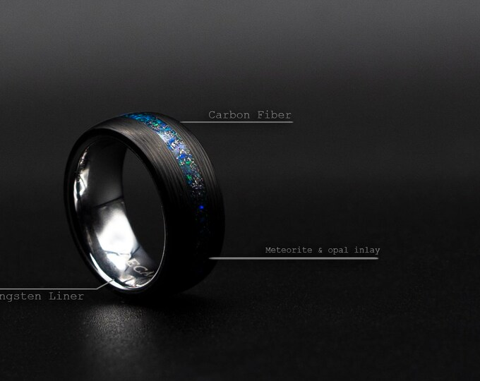 Carbon Fiber Ring With Tungsten Liner and Meteorite Opal Inlay, Unisex Wedding Band, Custom Wedding Ring, Opal Inlay Ring