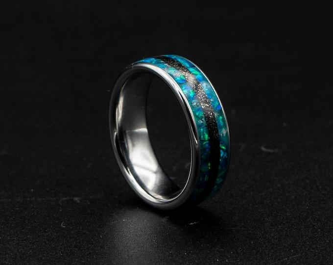 Peacock Green opal ring, glow in the dark, Galaxy opal ring, opal engagement ring, simple opal ring, meteorite , meteorite jewelry