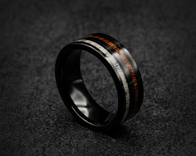 Black tungsten ring, Deer antler ring, mens tungsten ring, Personalised ring, Wedding band mens, Koa wood ring, Free engraving, engagement.