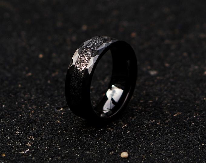 Black Ceramicring. Meteorite ring. mens wedding band. opal ring. wedding gift. tungsten ring. personalized ring. Galaxy Opal. man opal ring.