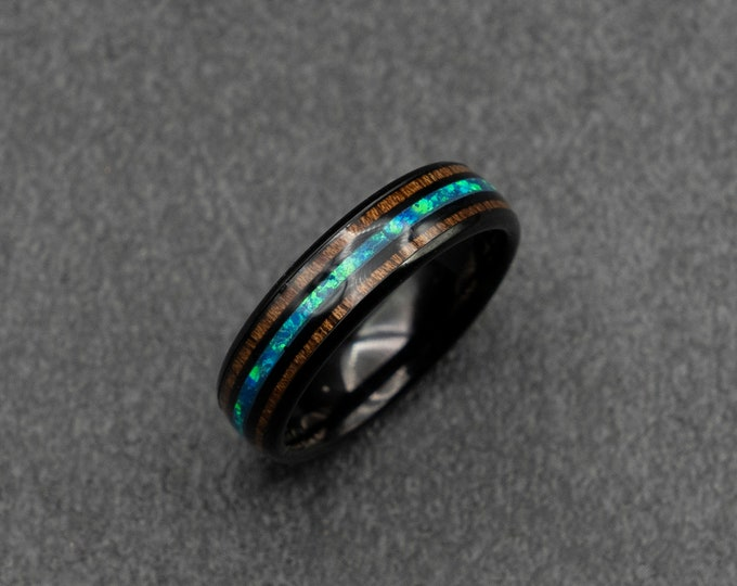 Black Tungsten ring with opal and wood, 6mm wide band. Blue opal ring.