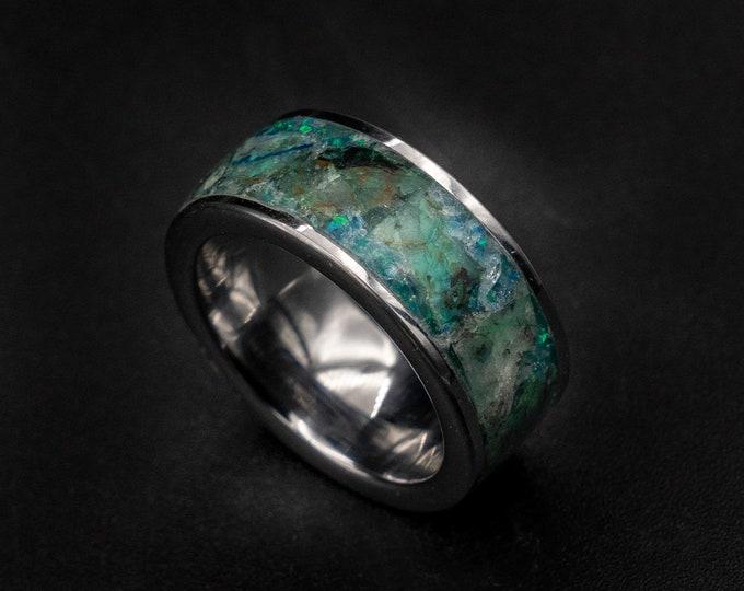 Quantum Quattro ring, Glow in the dark ring, Healing crystal ring, Malachite ring, dioptase ring, chrysocolla ring, chrysocolla jewelry.