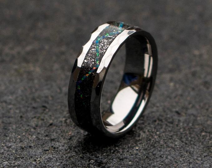 tungsten ring. Meteorite ring. mens wedding band. opal ring. wedding gift. tungsten ring. personalized ring. Galaxy Opal. man opal ring.