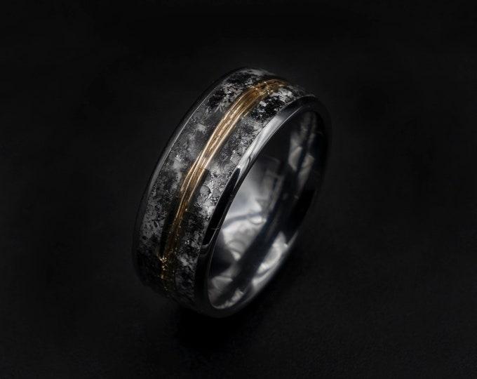 meteorite ring, Glow in the dark ring, glow ring, Gold tungsten ring, tungsten ring men, Lunar jewelry, mens wedding band, mens ring.