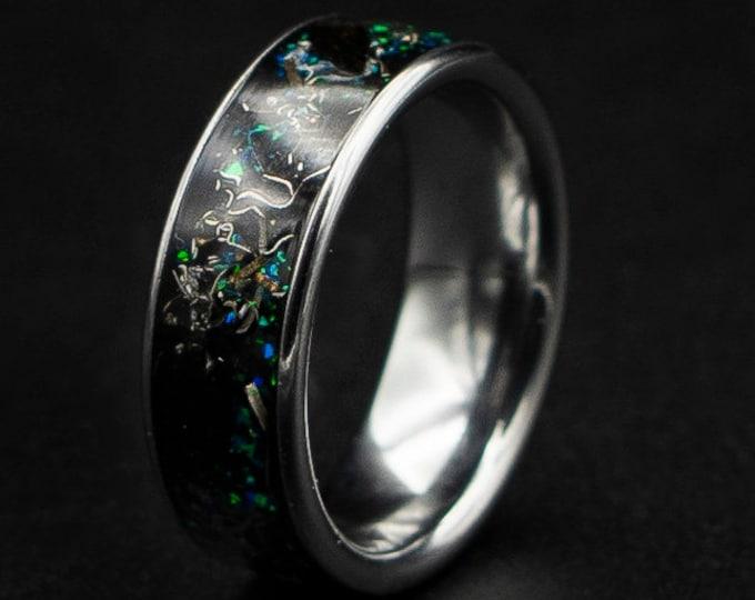 Dinosaur Bone Ring, Mens Dinosaur Bone Wedding Band, Velociraptor Ring, Mens Black Opal Ring, Mens Wedding Band, Mens Dinosaur Ring