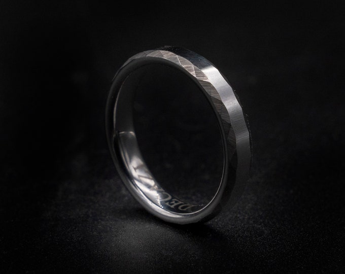 Hammered ring, tungsten ring, wedding band man, rings for men, opal ring, decazi, mens wedding band, 4mm ring, silver ring,