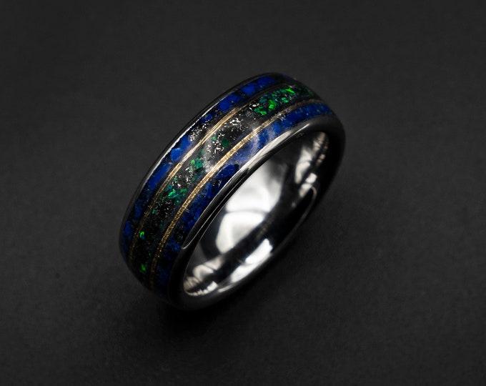 Meteorite ring men, opal ring, Lapis lazuli ring, wedding band mens, raw gemstone ring, gold wire ring, gold ring band, tungsten ring men.