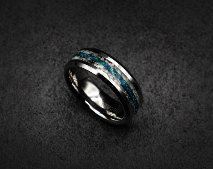 Tungsten opal ring with meteorite and blue opal. tungsten wedding band. Mens wedding band. Hammered tungsten ring. Marble ring. Marble.