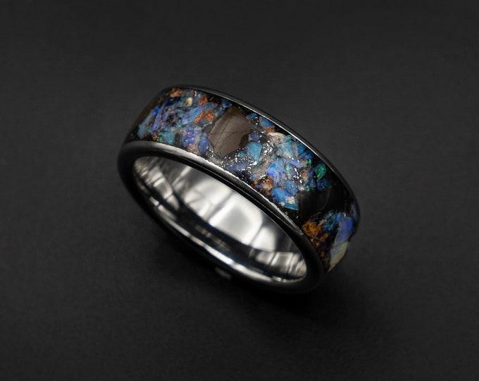 man promise ring, unique, dinosaur fossil, dinosaur bone, opal ring, meteorite ring, tungsten ring, meteorite ring men, australian opal,