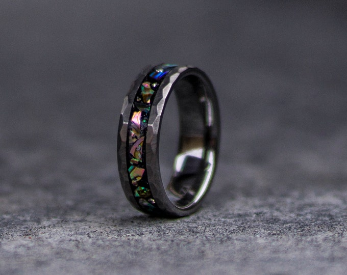 Abalone tungsten ring, tungsten ring, Abalone ring mens wedding band, Abalone shell, personalized ring.