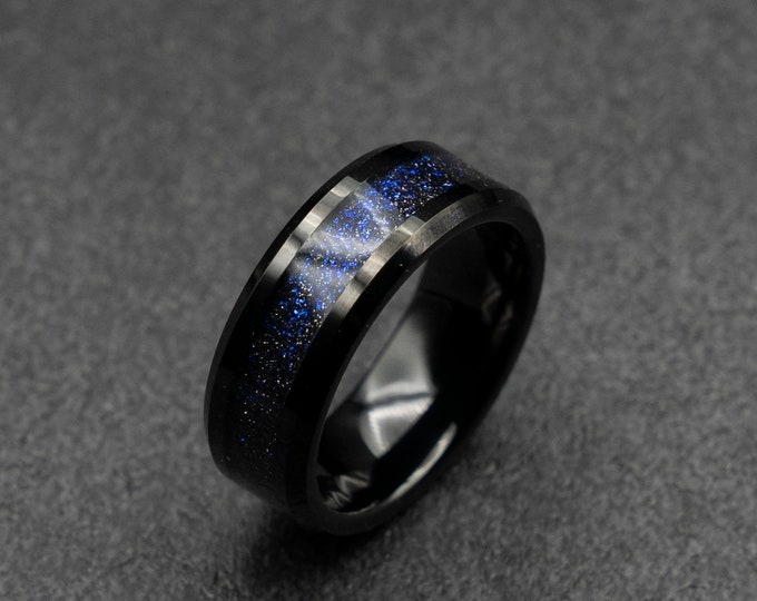 Black Tungsten ring with galaxy opal. 8 mm wide band. blue/Purple opal dust ring. Ready to ship