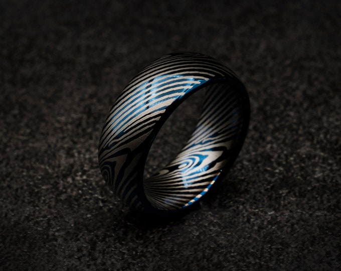 Blue Damascus, Blue tungsten ring, Damascus tungsten ring, mens tungsten ring, Personalised ring,  Wedding band mens, damascus steel ring.