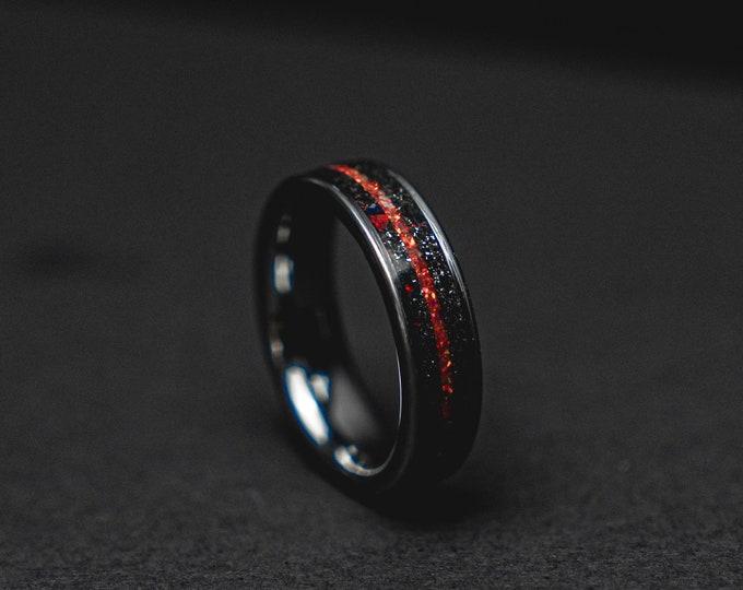 Meteorite tungsten ring men, Red opal ring, mens wedding band, mens ring, wedding band men, 6mm wide ring.