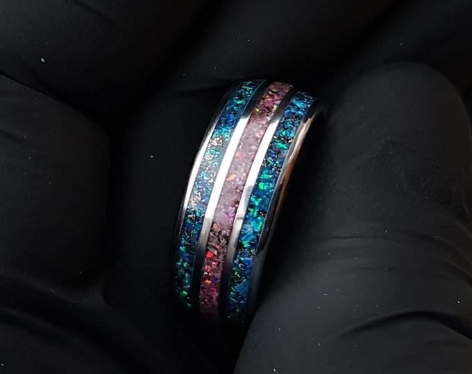 Triple Tungsten ring. rings. men. Meteorite ring. matching ring set. opal engagement ring. glow. galaxy ring. mens wedding band.