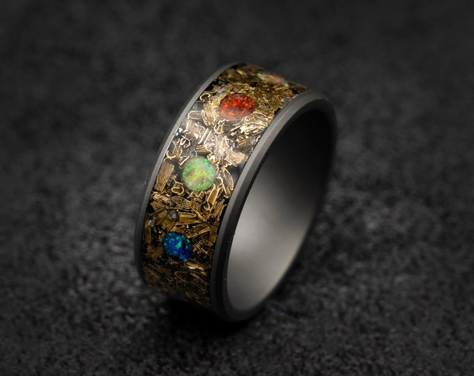 marvel infinity ring, Meteorite ring ,mens wedding band, Opal ring, tungsten, Unique mens ring, Decazi, mens ring, rings for men.
