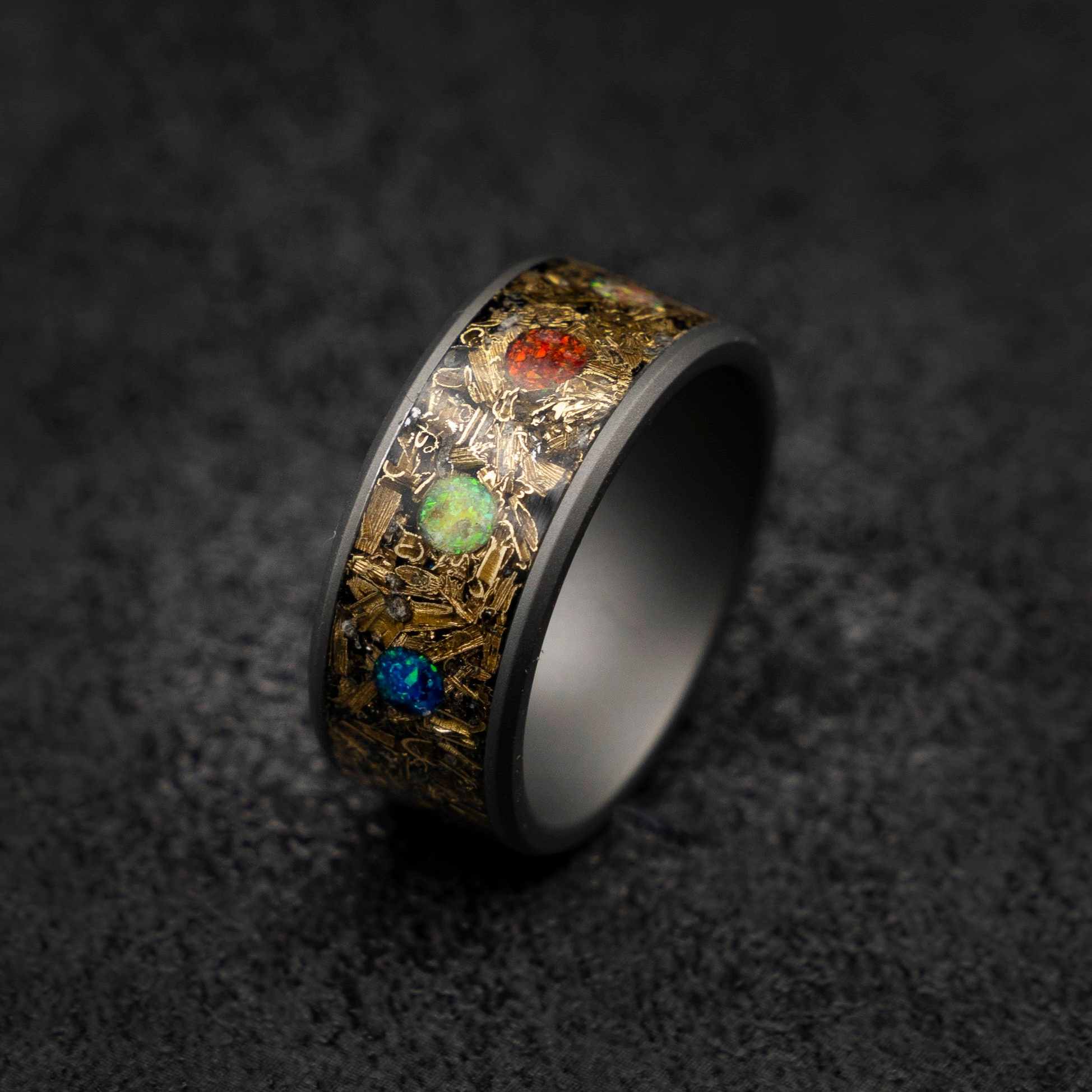 This is an image of marvel infinity ring, Meteorite ring ,mens wedding band, Opal ring
