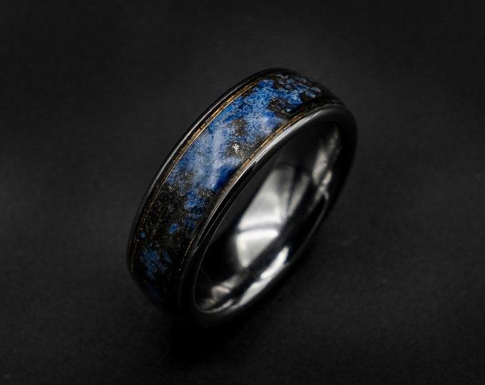 gold Meteorite ring, Lapis lazuli ring, wedding band mens, raw gemstone ring, mens, gold wire ring, gold ring band, tungsten ring men.
