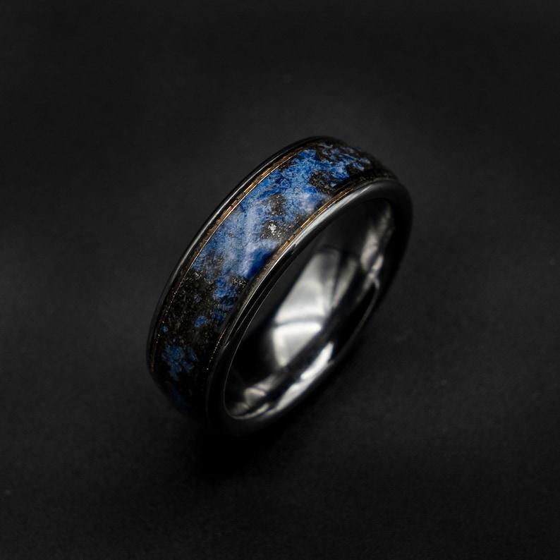 gold Meteorite ring Lapis lazuli ring wedding band mens raw image 0