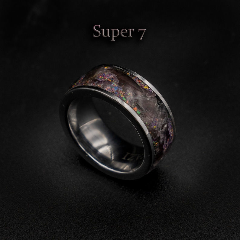 Amethyst jewelry Super seven ring jewelry Healing crystal image 0