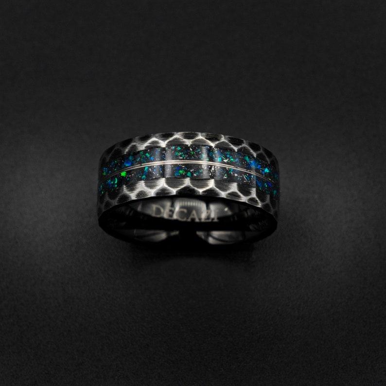 galaxy opal ring mens opal ring Black tungsten ring Gold image 0