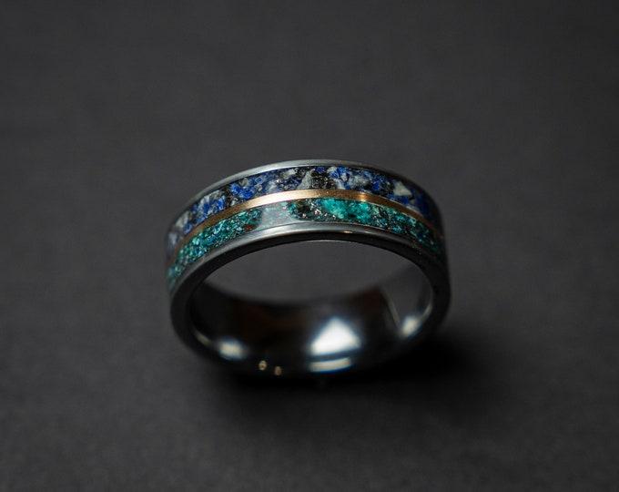 Lapis lazuli ring, chrysocolla, Black friday, mens ring, Gold inlay, mens wedding band, mens engagement ring, rings for men, Decazi